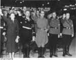 Gertrud Scholtz-Klink, Heinrich Himmler, Rudolf Heß, Baldur von Schirach, and Artur Axmann at a Hitler Youth rally, Berlin, Germany, 13 Feb 1939; Himmler