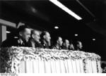 Danish police chief Dahl, Dr. Karl Ritter von Halt, Reinhard Heydrich, Heinrich Himmler, Kurt Daluege, and Karl Wolff at the Sportpalast, Berlin, Germany, 16 Feb 1941