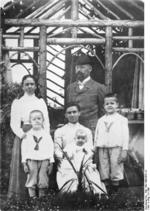Himmler family portrait, date unknown; Heinrich Himmler was the leftmost, in front row, standing before his mother