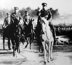 Emperor Showa (Hirohito) reviewing troops of the Japanese Army on his horse Shirayuki, 8 Jan 1938