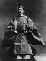 Emperor Showa (Hirohito) during his coronation ceremony, dressed in the robes of the high priest of State Shinto, 10 Nov 1928