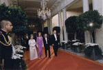 Empress Kojun, First Lady Betty Ford, Emperor Showa, and President Gerald Ford walking toward the East Room of the White House, Washington DC, US, 2 Oct 1975, photo 1 of 2