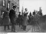 Adolf Hitler speaking at the Berliner Schloss at Lustgarten during the German Presidental Election of 1932, Berlin, Germany, 4 Apr 1932; note Goebbels next to Hitler