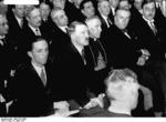 German Minister Joseph Goebbels, German Chancellor Adolf Hitler, and Vatican Apostolic Nuncio to Germany Cesare Orsenigo, Berlin, Germany, 6 Apr 1933