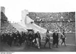 Reich Chancellor Adolf Hitler leading officials of the International Olympic Committee into the Berlin Olympic Stadium, Germany, 21 Jun 1936, photo 2 of 2