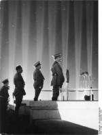 Adolf Hitler, Robert Ley, and Rudolf Heß at a Nazi rally at Nürnberg, Germany, 11 Sep 1936