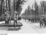Hitler reviewing a military parade held in celebration of his 47th birthday, 20 Apr 1936; Blomberg, Göring, Raeder, and Rundstedt behind him