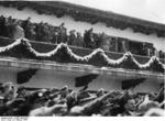 Chancellor Hitler saluting the athletes from balcony of the Olympic House during opening ceremony of the IV Olympic Winter Games, Garmisch-Partenkirchen, Bavaria, Germany, 6 Feb 1936, photo 4 of 4