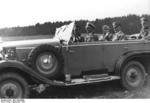 Mussolini and Hitler in a Daimler-Benz Type G4/W31 limousine during German Army maneuvers in Mecklenburg and Pomerania, Germany, Sep 1937; Colonel Friedrich Hoßbach seated behind Hitler
