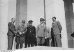 Prof. Bruckmann, Mayor of Nuremberg Willy Liebel, Ribbentrop, Hitler, and Speer in Nuremberg, Germany, 27 Jun 1937