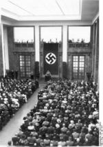 Chancellor Adolf Hitler speaking at the opening of the House of German Art, Munich, Germany, 18 Jul 1937