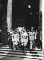 Mussolini and Hitler, Munich Conference, Germany, 29 Sep 1938, photo 1 of 2; Göring, Himmler, and Ciano in background