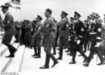 Hitler, Bormann, Heß, Epp, Schaub, and Himmler entering a Nazi Party rally, Nürnberg, Germany, 6 Sep 1938