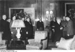 Czechoslovakian President Emil Hácha meeting with German leader Adolf Hitler, Berlin, Germany, 15 Mar 1939