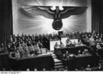 Adolf Hitler declaring war on the United States at the German Reichstag, Berlin, Germany, 11 Dec 1941, photo 2 of 2