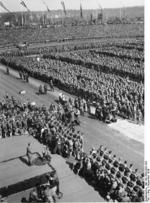 Adolf Hitler speaking before a Nazi Party rally at Nürnberg, Germany, 5-10 Sep 1934