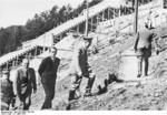 Adolf Hitler, Albert Speer, and maybor of Nürnberg Willy Liebel inspecting the progress of the construction of a new rally ground in Nürnberg, Germany, 21 Mar 1938