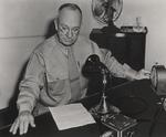 Holland Smith broadcasting a Christmas holiday message, Pearl Harbor, US Territory of Hawaii, 25 Dec 1944