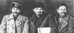 Joseph Stalin, Vladmir Lenin, and Mikhail Kalinin at the 8th Congress of the Russian Communist Party, Mar 1919