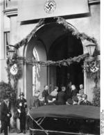 Adolf Hitler and Neville Chamberlain at Hotel Dreesen, Bad Godesberg, Germany, 22 Sep 1938; Wilhelm Keitel, Paul Otto Gustav Schmidt, Joachim von Ribbentrop, and Dörnberg also present