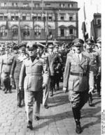 Adolf Hitler and Benito Mussolini at München, Germany for the Munich Conference, 29 Sep 1938, photo 5 of 9