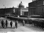 Adolf Hitler at Memorial Day celebration with Wilhelm Keitel, Walther von Brauchitsch, Erich Raeder, and Hermann Göring (behind Hitler), Berlin, Germany, 10 Mar 1940