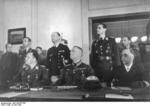 German Generaloberst Hans-Jürgen Stumpff, Generalfeldmarschall Wilhelm Keitel, and Generaladmiral Hans-Georg von Friedeburg at the surrender ceremony at Karlshorst, Berlin, Germany, 8 May 1945 Photo 1 of 2