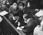 Wilhelm Keitel, Ernst Kaltenbrunner, and Alfred Rosenberg in discussion at the Nuremberg Trial, Germany, 1945-1946