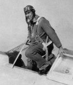 1st Lieutenant Benjamin Kelsey exiting the cockpit of a P-36A aircraft, Wright Field, Ohio, United States, circa Apr 1938