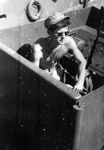 Kennedy aboard PT-109, circa mid-1943. Photo 1 of 2.
