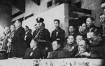 Korean Provisional President Kim Gu with other officials at a sporting event, Seoul, Korea, 19 Dec 1945