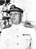 Rear Admiral Husband Kimmel, commanding officer of US Navy Cruiser Division Seven, probably on board his flagship USS San Francisco, circa 1939