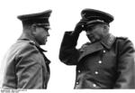 German Army General Felix Schwalbe and Field Marshal Günther von Kluge in Northern France, Apr 1944