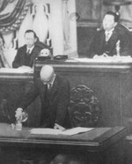 Fumimaro Konoe presiding over a session of the House of Peers, Tokyo, Japan, 1935