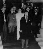 Japanese Prime Minister Fumimaro Konoe and his second cabinet at the Kantei, Tokyo, Japan, 22 Jul 1940