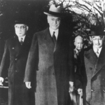 Japanese Ambassador Admiral Kichisaburo Nomura and Special Envoy Saburo Kurusu with US Secretary of State Cordell Hull, Washington DC, United States, 17 Nov 1941