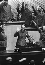 German Reichstag saluting Adolf Hitler shortly after Germany