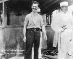 Cadet William Leahy and Captain Charles Edgar Clark aboard USS Oregon during Battle of Sanitago, off Cuba, 3 Jul 1898