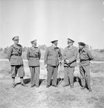 Oliver Leese, Harold Alexander, Winston Churchill, Alan Brooke, and Bernard Montgomery at Tripoli, Libya, date unknown