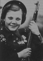 Nina Lobkovskaya with Mosin-Nagant rifle with scope, 1940s