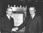Head of the United States Library of Congress Archibald MacLeish and British Ambassador Lord Lothian posing in front of the Magna Carta, Washington, DC, United States, 28 Nov 1939
