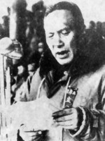 Lu Han speaking at the ceremony welcoming in communist troops, Kunming, Yunnan Province, China, 22 Feb 1950