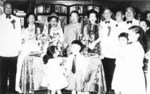 Ma Bufang (far left) with the Republic of China ambassador in Saudi Arabia at a private function, Saudi Arabia, 1955