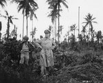 MacArthur and his acting aide Colonel Lloyd Lehrabas inspected the results of the heavy naval bombardment on Los Negros, Admiralty Islands, 29 Feb 1944