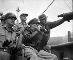 Courtney Whitney, Douglas MacArthur, and Edward Almond aboard AGC Mount McKinley during the Inchon landings, 15 Sep 1950, photo 2 of 2