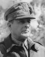 Portrait of MacArthur, circa 1943-1944; text reads