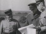 US Army General Douglas MacArthur with French officers during a visit to France, 1930s