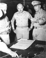 Generals Walter Kreuger, William Rupertus, and Douglas MacAthur, circa 1943