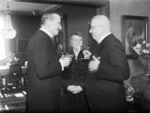 Carl Mannerheim and new Finnish President Juho Paasikivi, 11 Mar 1946, photo 1 of 2; note Alli Paasikivi in background
