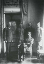 Mannerheim (seated) with his lieutenants Lilius, Kekoni, Kallela, and Rosenbröijer, circa 1919
